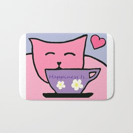 Happiness Is Cats and Tea Bath Mat