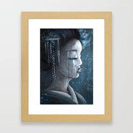 Geisha in Snow: The Stoic Concubine Framed Art Print
