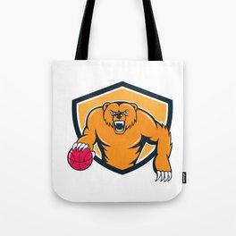 Grizzly Bear Angry Dribbling Basketball Shield Cartoon Tote Bag