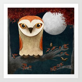 Deep in the Night, Owl Eyes Bright Art Print