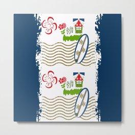Surfer Stripes -navy Metal Print