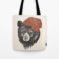 fabric Tote Bags featuring zissou the bear by Laura Graves