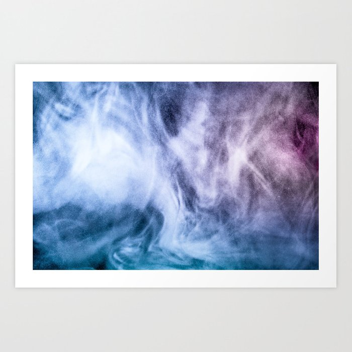 Blue and purple abstract heavenly clouds smoke Art Print