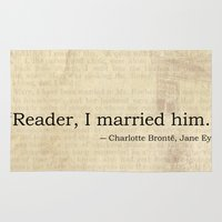 jane eyre Area & Throw Rugs featuring Reader I Married Him, Jane Eyre Conclusion Quote by ForgottenCotton