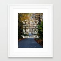 bible verse Framed Art Prints featuring Joshua 1 verse 9 - Typographic Bible Verse by Encouraging Verses UK