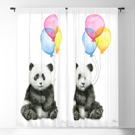 Panda Baby with Balloons Blackout Curtain