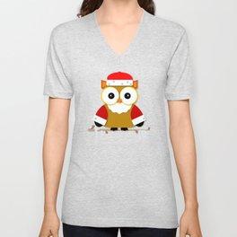 Santa Owl Unisex V-Neck