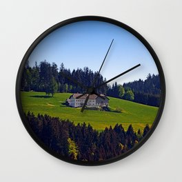 A farm, blue sky and some panorama | landscape photography Wall Clock