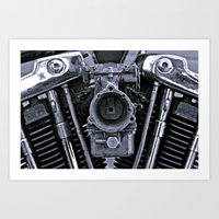 motorcycle Art Prints featuring MOTORCYCLE  by ALX RUTECKI
