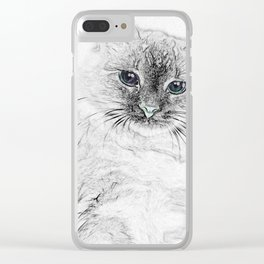 Siberian Kitty Cat Laying on the Marble Slab Clear iPhone Case