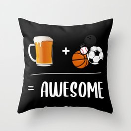 Beer + Sport = Awesome Throw Pillow