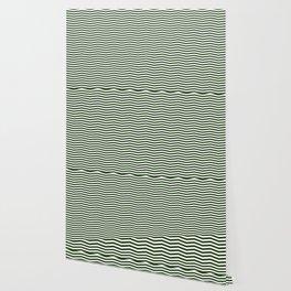 Dark Forest Green and White Chevron Zigzag Stripes Wallpaper