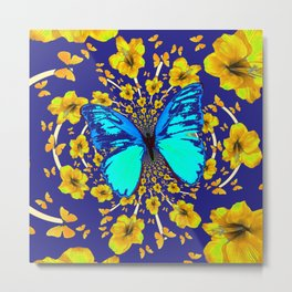 TURQUOISE BLUE YELLOW AMARYLLIS BUTTERFLY ART Metal Print