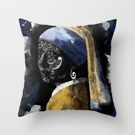 Typography with a pearl earring Throw Pillow
