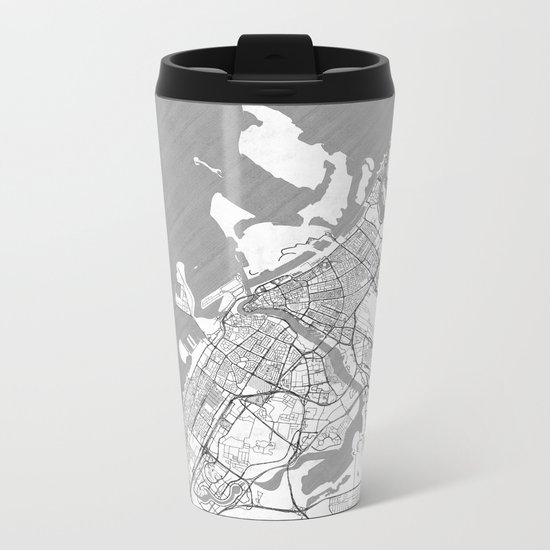 Dubai Map Line Metal Travel Mug