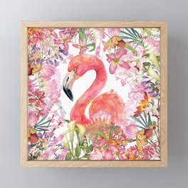Flamingo in Tropical Flower Jungle Framed Mini Art Print