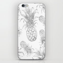 grayscale pineapple pattern, vintage tropical desing iPhone Skin