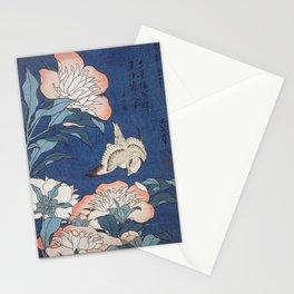Katsushika Hokusai Peonies and Canary Stationery Cards