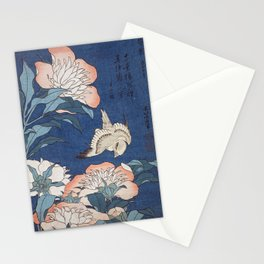 Katsushika Hokusai Peonies and Canary Stationery Cards