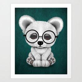 Cute Polar Bear Cub with Eye Glasses on Teal Blue Art Print