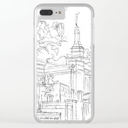 Melbourne AU LDS Temple Sketch Clear iPhone Case