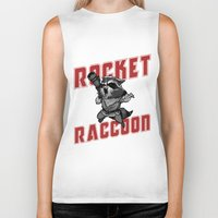 rocket raccoon Biker Tanks featuring The Raccoon by Twinky Wood
