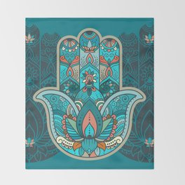 Hamsa Hand of Fatima, good luck charm, protection symbol anti evil eye Throw Blanket