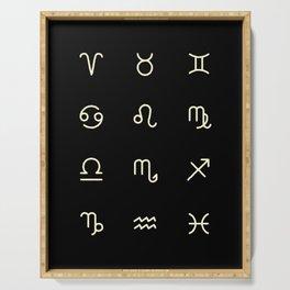 Zodiac Symbols - Black Serving Tray