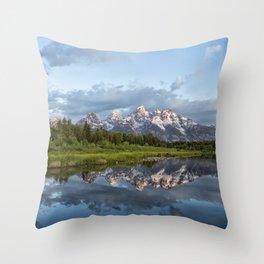 Light Touching the Grand Tetons Throw Pillow