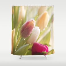 Bouquet of tulips spring flowers in pastel Shower Curtain