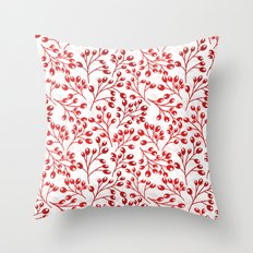 Autumn red berries Throw Pillow
