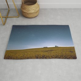 Barn Under Blue Over Yellow Rug