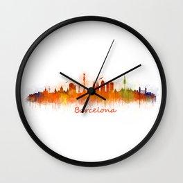 Barcelona City Skyline Hq _v3 Wall Clock