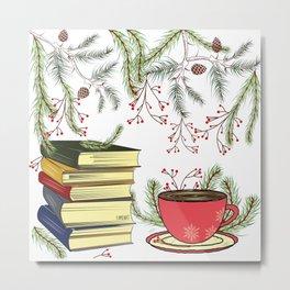 Winter Books and Tea Metal Print