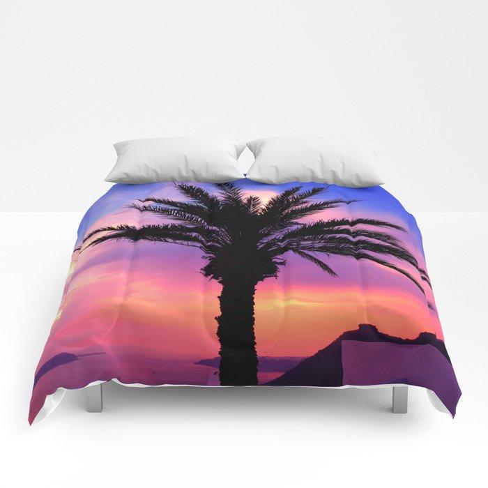 Sunset Palm tree i Comforters
