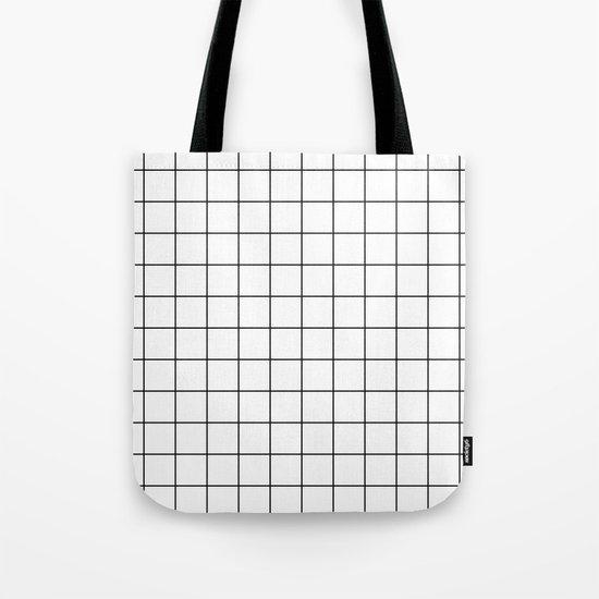 White Black Grid Minimalist Tote Bag
