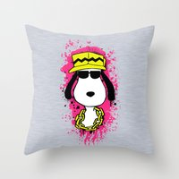 snoopy Throw Pillows featuring Snoopy Dog by Mateus Quandt
