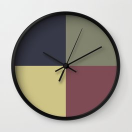 Yellow Green Blue Red Geometric Minimal Design Wall Clock