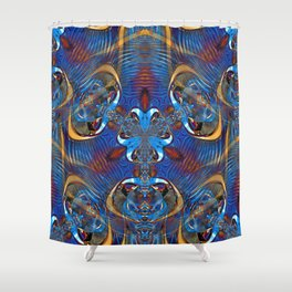 Ornate Blue Gold Abstract - Seamless Shower Curtain