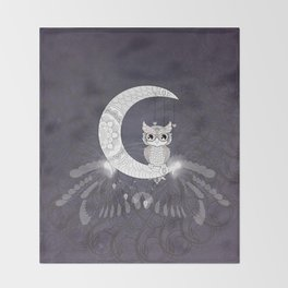 Cute owl, mandala design Throw Blanket