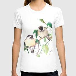 Chickadees, birds on tree, bird design neutral colors T-shirt