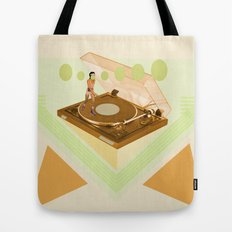 the girl who was roller skating on a record player... Tote Bag