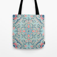 bedding Tote Bags featuring Gypsy Floral in Red & Blue by micklyn