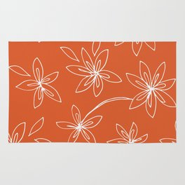 Flower Drawing on Orange Rug