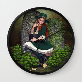 Leprechaun Lass Wall Clock