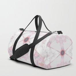 Silver Mandala Button Marble Abstract Duffle Bag