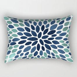 Flower Bloom, Aqua and Navy Rectangular Pillow