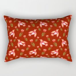 Pretty cute little wild canary birds, red blooming garden tulips, feminine nature flowers dark brown pattern. Hello spring. Gift ideas for tulip lovers. Botanical floral animal artistic design. Rectangular Pillow