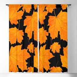 Orange Maple Leaves Black Background #decor #society6 #buyart Blackout Curtain