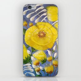 Yellow Bloom, Yellow Abstract Flowers, Yellow and Blue, Floral Prints, Modern Floral iPhone Skin